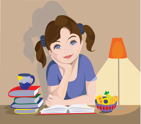studing: Little girl is dreaming Illustration