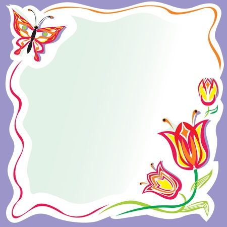 Stylized flowers frame with butterfly Illustration