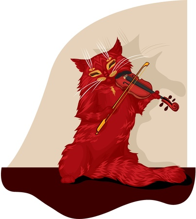 Tabby cat plays the violin Vector