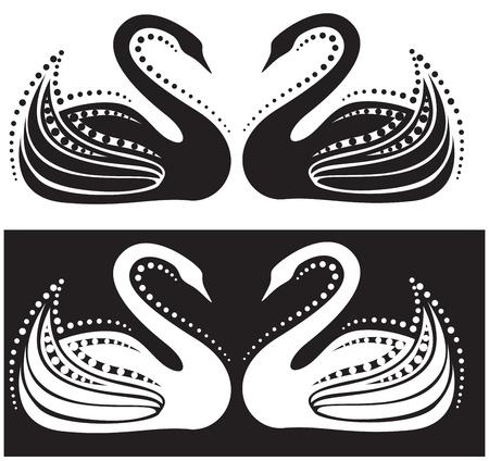백조 한 쌍의 양식에 일치시키는 이미지