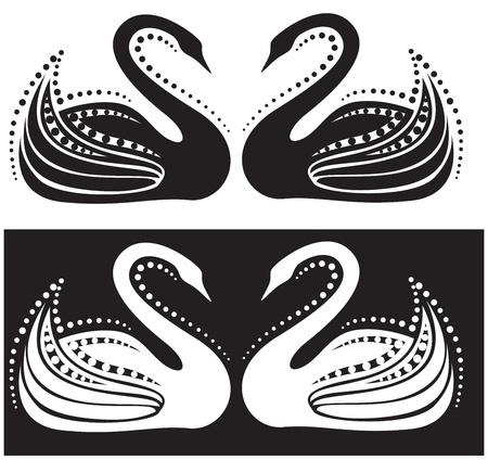 The stylized image of a pair of swans
