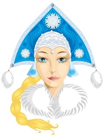 kokoshnik: Beautiful girl in the winter dress