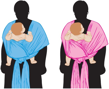 sling: The silhouette of a mother with a baby in a sling