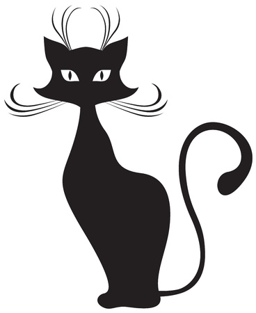 The silhouette of black graceful cats Vector