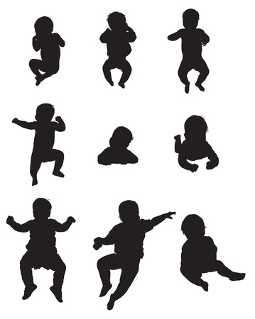 The silhouettes of the child 0-1 year, lies, drifts, flips, sits Иллюстрация