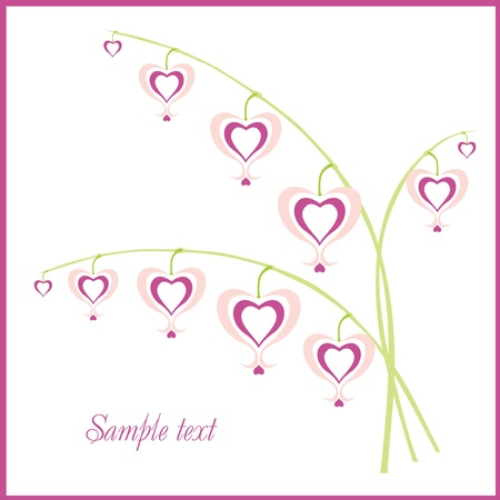Congratulatory background with delicate pink flowers-hearts Vector
