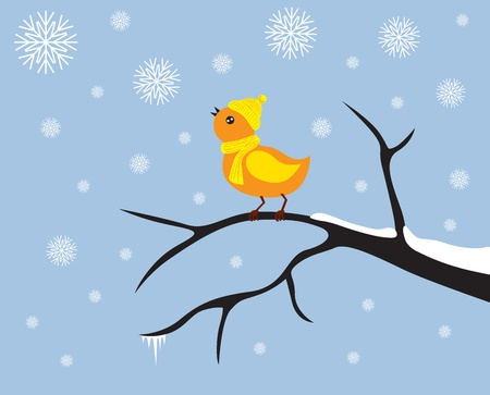 Little bird in a cap and scarf looks at the snowflakes Vector