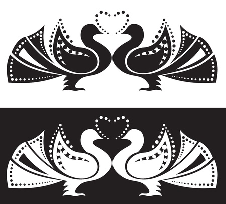 The stylized image of a pair of doves. Ornament Vector