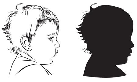 Profil Babys: schwarz-weiß Illustration und Silhouette Standard-Bild - 11226132