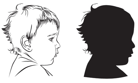 black baby boy: Profile babies: black-and-white illustration and silhouette