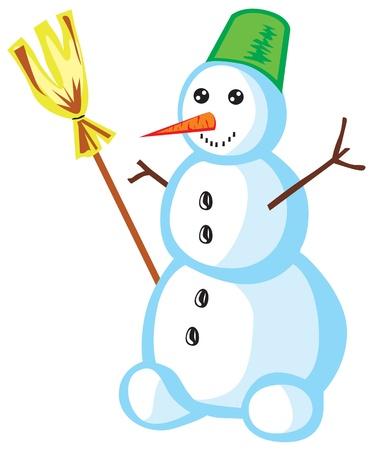 Schneemann mit einem Besen