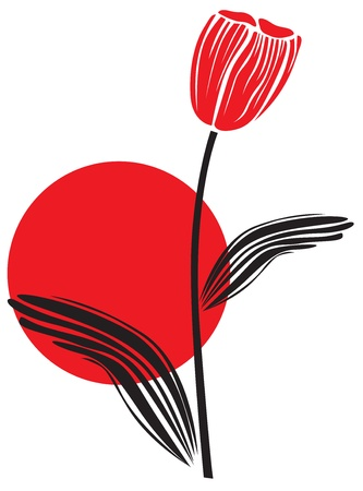 setting sun: Red tulip on the backdrop of the setting sun Illustration