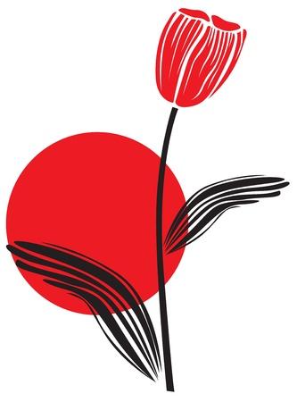 tulipe rouge: Tulipe rouge sur la toile de fond le soleil couchant Illustration