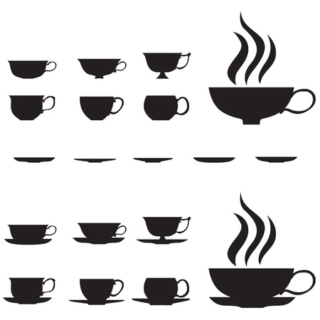 The graceful silhouette of small tea cups
