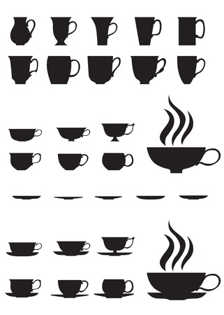 The silhouettes of large and small tea cups and saucers Illustration