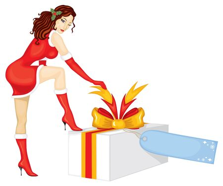 A beautiful lady in a red dress with a white brush set foot on the box with a gift and unties the tape Vector
