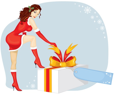 A beautiful lady in a red dress with a white brush set foot on the box with a gift and unties the tape