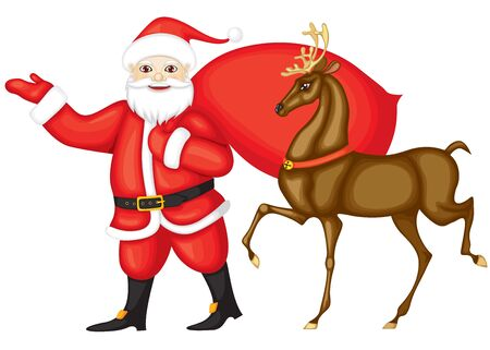 Santa Claus and Rudolph run next. Santa carries a bag with gifts, smiles and shows the way of the hand. On the neck of Rudolph the red collar with a golden jingles nowadays