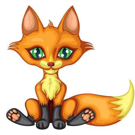 volpe rossa: A cute little red fox si siede, allungando il piede, e scodinzola. Una immagine a colori Vettoriali