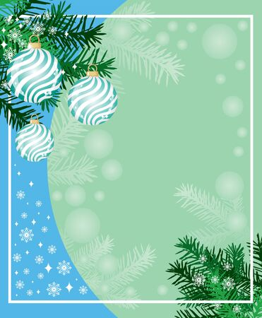 New years background from the fir paws, balls and snowflakes Vector