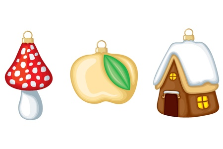 Retro christmas decorations: a house, a apple and a mushroom Stock Vector - 11809124