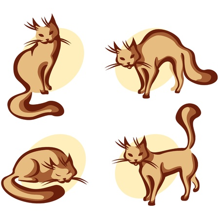 The contour image of a cute home cats in various poses Vector