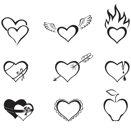 two hearts: The contour black-and-white image icon with hearts