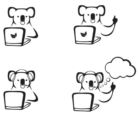 The contour image of koalas for laptop in various poses Vector