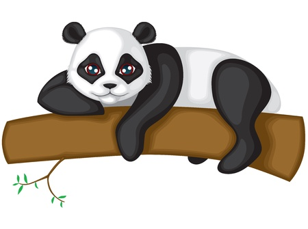 Big panda resting on a tree branch Vector