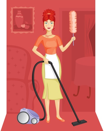 A woman with a vacuum cleaner suggests the order in the house Vector