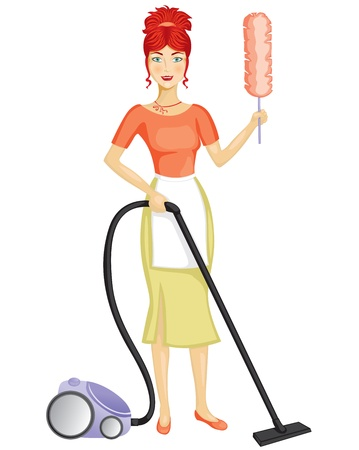 A woman with a vacuum cleaner suggests the order in the house Stock Vector - 11930206