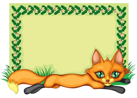 The frame, decorated with a picture of a fox, oak leaves, acorns and herbs Vector