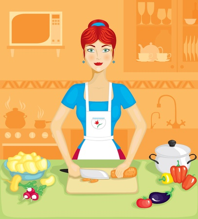 Beautiful woman in the kitchen prepares a vegetable dish Vector