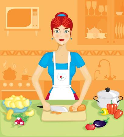 Belle femme dans la cuisine prépare un plat de légumes Vecteurs