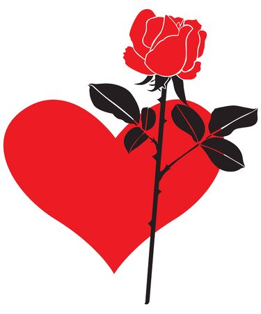 Red rose on a background of a red heart Vector