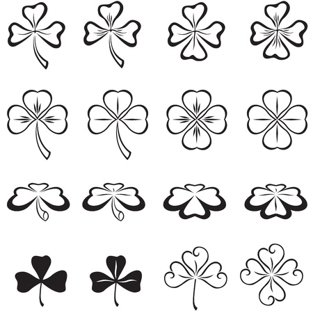 three leaf clover: The leaves of clover in three and four leaf Illustration