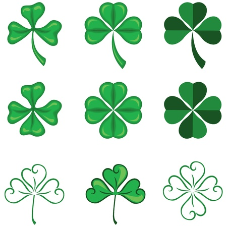 quarterfoil: The leaves of clover in three and four leaf Illustration