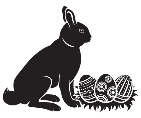 Easter bunny hatches decorated eggs Vector