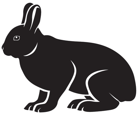 Black-and-white silhouette of a cute sitting hare Vector