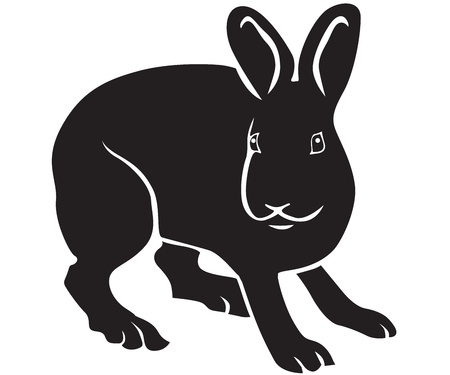 Black-and-white silhouette of a nice standing hare Vector