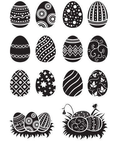 A set of black-and-white easter eggs decorated with ornament 일러스트