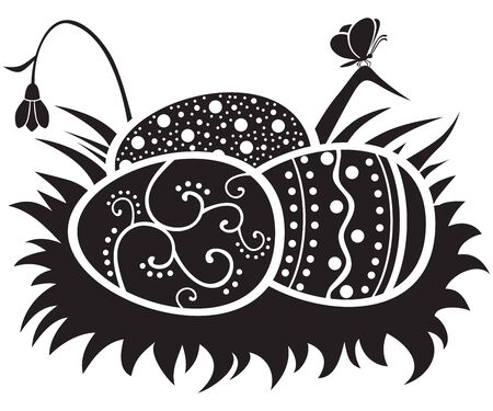 Nest with the Easter painted eggs of black-and-white illustration Stock Vector - 12165507