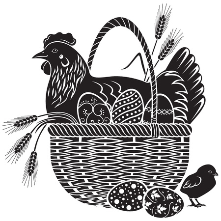Hen sitting in a wicker basket with easter eggs