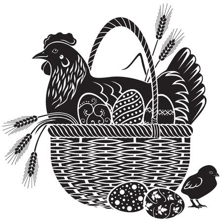 Poule assis dans un panier en osier avec des oeufs de Pâques