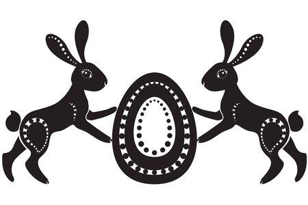 eggshells: La imagen estilizada de un par de liebres de pascua la celebraci�n de los huevos Vectores