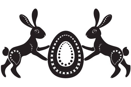 The stylized image of a pair of easter hares holding the egg