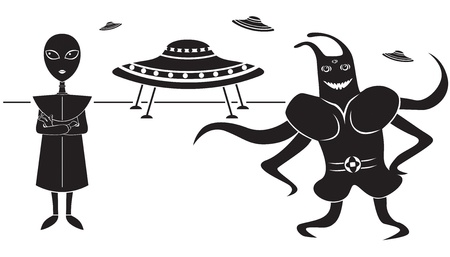 flying saucer: Funny picture of a pair of aliens and flying saucer Illustration