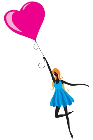 The silhouette of a girl, flying in a hot air balloon in the shape of a heart Vector