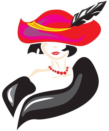hat with feather: The stylized image of an elegant lady in a hat with a feather and fur boa