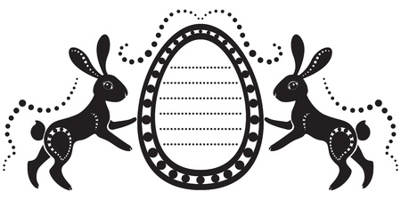The stylized image of a pair of easter hares holding the egg Vector